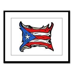 Puerto Rico Heat Flag Large Framed Print