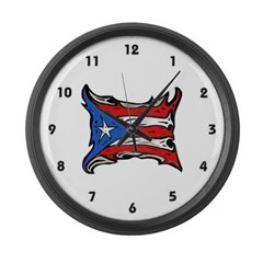 Puerto Rico Heat Flag Large Wall Clock