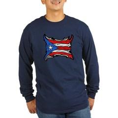 Puerto Rico Heat Flag Long Sleeve Dark T-Shirt