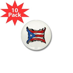 Puerto Rico Heat Flag Mini Button (10 pack)