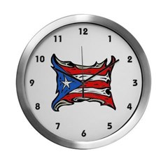 Puerto Rico Heat Flag Modern Wall Clock