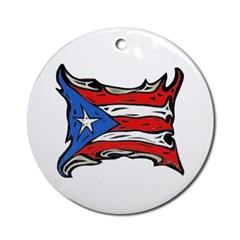 Puerto Rico Heat Flag Ornament (Round)