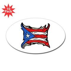 Puerto Rico Heat Flag Oval Sticker (10 pk)