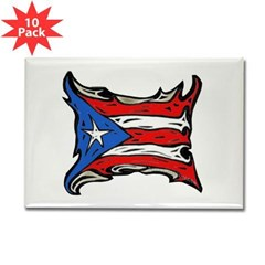 Puerto Rico Heat Flag Rectangle Magnet (10 pack)