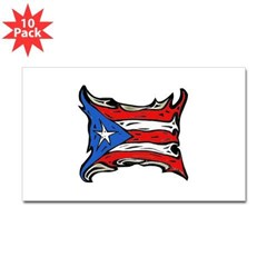 Puerto Rico Heat Flag Rectangle Sticker 10 pk