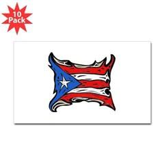 Puerto Rico Heat Flag Rectangle Sticker 10 pk
