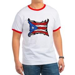 Puerto Rico Heat Flag Ringer T-Shirt