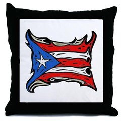 Puerto Rico Heat Flag Throw Pillow
