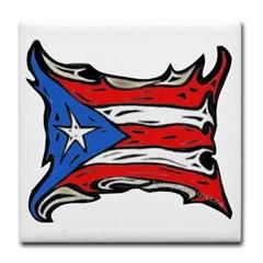 Puerto Rico Heat Flag Tile Coaster