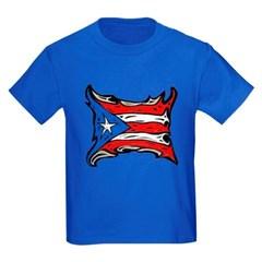 Puerto Rico Heat Flag Youth Dark T-Shirt by Hanes