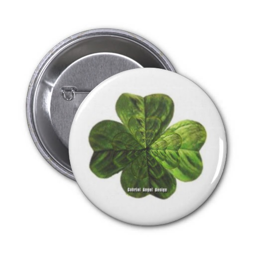 Concentric 4 Leaf Clover 2 Inch Round Button