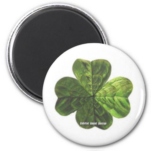 Concentric 4 Leaf Clover 2 Inch Round Magnet