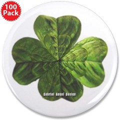 "Concentric 4 Leaf Clover 3.5"" Button (100 pack)"