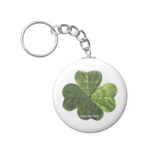Concentric 4 Leaf Clover Basic Button Keychain