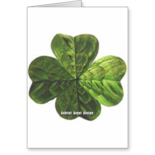 Concentric 4 Leaf Clover Greeting Card