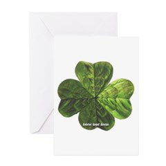 Concentric 4 Leaf Clover Greeting Cards (Pk of 10)