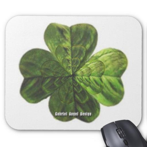Concentric 4 Leaf Clover Mousepad
