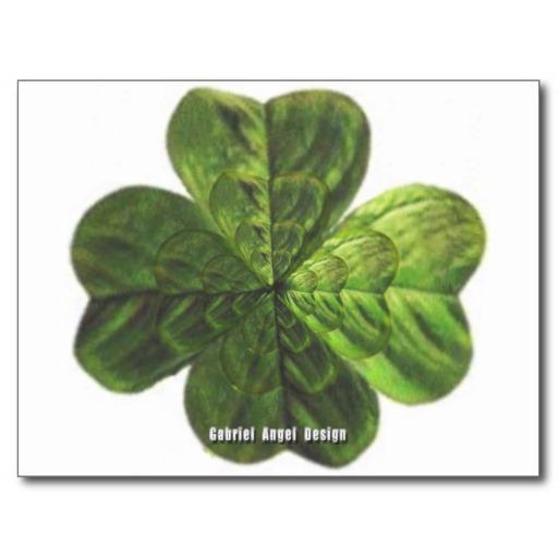 Concentric 4 Leaf Clover Postcard