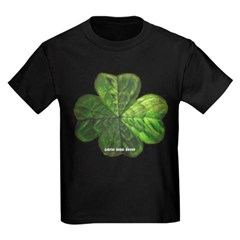 Concentric 4 Leaf Clover Youth Dark T-Shirt by Hanes