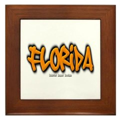 Florida Graffiti Framed Tile