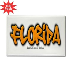 Florida Graffiti Rectangle Magnet (100 pack)