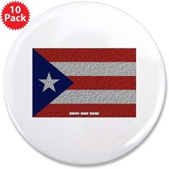 "Puerto Rico Cloth Flag 3.5"" Button (10 pack)"