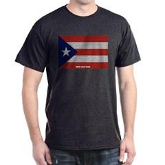 Puerto Rico Cloth Flag Dark T-shirt