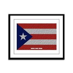 Puerto Rico Cloth Flag Framed Panel Print