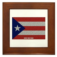 Puerto Rico Cloth Flag Framed Tile
