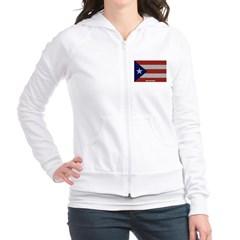 Puerto Rico Cloth Flag Junior Zip Hoodie