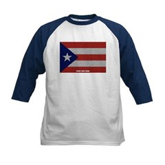 Puerto Rico Cloth Flag Kids Baseball Jersey T-Shirt