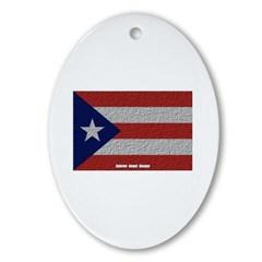 Puerto Rico Cloth Flag Oval Ornament