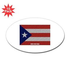Puerto Rico Cloth Flag Oval Sticker (10 pk)