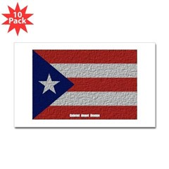 Puerto Rico Cloth Flag Rectangle Sticker 10 pk