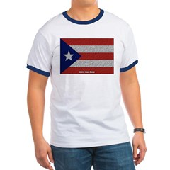Puerto Rico Cloth Flag Ringer T-Shirt