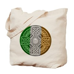 Celtic Shield Knot with Irish Flag Canvas Tote Bag