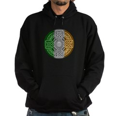 Celtic Shield Knot with Irish Flag Dark Hooded Sweatshirt