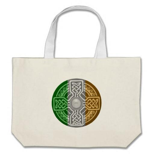 Celtic Shield Knot with Irish Flag Jumbo Tote