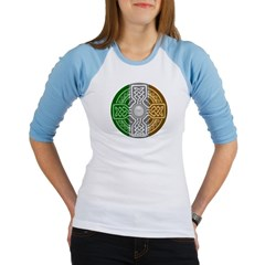 Celtic Shield Knot with Irish Flag Junior Raglan T-shirt