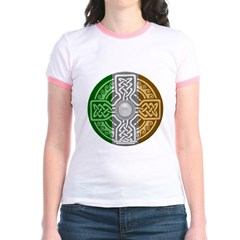 Celtic Shield Knot with Irish Flag Junior Ringer T-Shirt