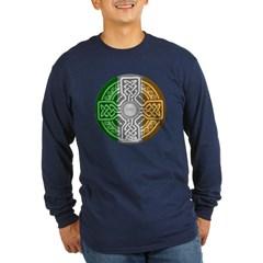 Celtic Shield Knot with Irish Flag Long Sleeve Dark T-Shirt