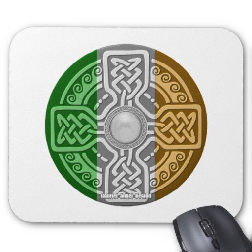 Celtic Shield Knot with Irish Flag Mousepad