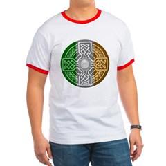 Celtic Shield Knot with Irish Flag Ringer T-Shirt