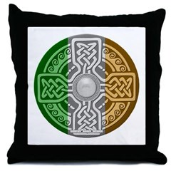 Celtic Shield Knot with Irish Flag Throw Pillow