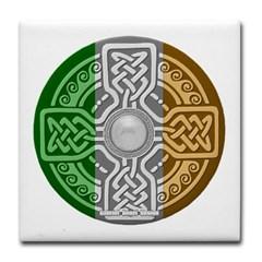 Celtic Shield Knot with Irish Flag Tile Coaster