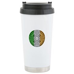 Celtic Shield Knot with Irish Flag Travel Mug