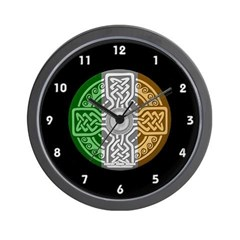 Celtic Shield Knot with Irish Flag Wall Clock