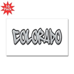 Colorado Graffiti Rectangle Decal 10 Pack