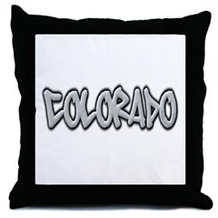 Colorado Graffiti Throw Pillow