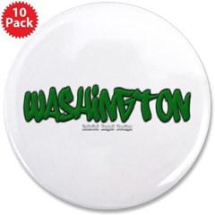"""State of Washington Graffiti 3.5"""" Button (10 pack)"""
